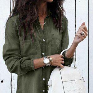 New Boho Freyed Hem Button Up Olive Denim Dress